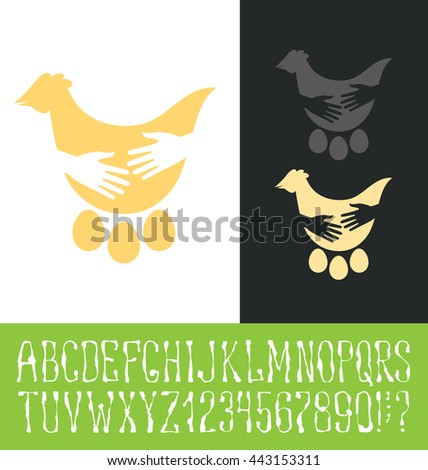 Vector logo with hand made font. Healthy food chicken and eggs