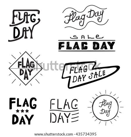 Vector logos and labels Flag day of the United States, 4th of July greeting card with hand drawn lettering typography isolated.