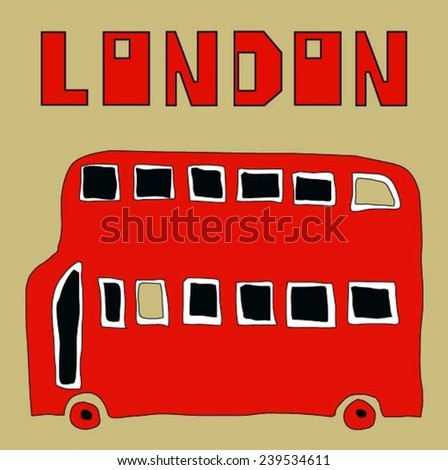 Vector London bus (Can be used as texture for cards, invitations, DIY projects, web sites or for any other design)  - stock vector