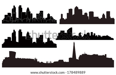 Vector London city silhouettes.