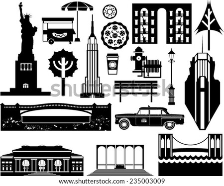 Vector London city street icon set. A set of London symbols and landmarks in silhouettes. - stock vector