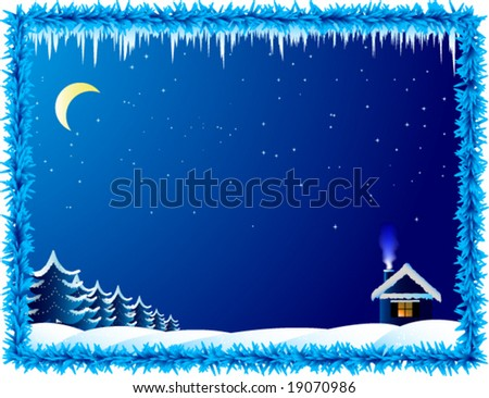 Vector lonely house in frosty night - stock vector