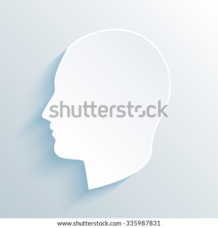 vector long shadow flat silhouette head