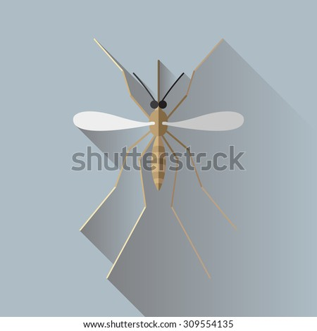 Vector Long Shadow Mosquito