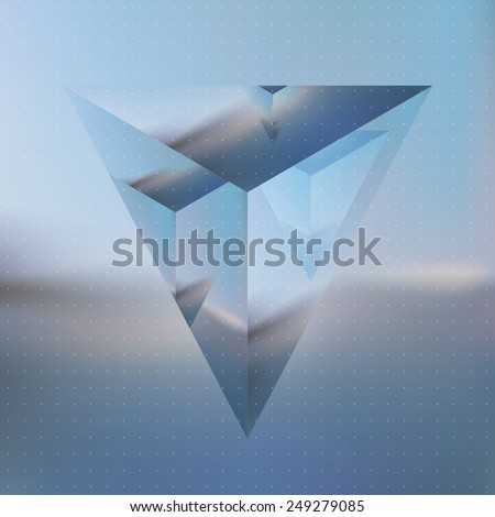 Vector looks like double exposure. Abstract isometric prism with the reflection of the environment on blurred background. Minimalistic blurry backdrop. Futuristic object levitating in the air. - stock vector
