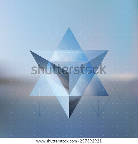 Vector looks like double exposure. Abstract isometric prism with the reflection of the environment on blurred background. Minimalistic blurry backdrop. Futuristic star levitating in the air. - stock vector
