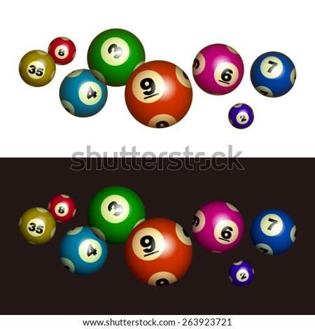 Vector Lottery / Bingo Ball Isolated on White / Black Background - stock vector