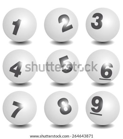 Vector Lottery / Bingo Number Balls White Set - stock vector