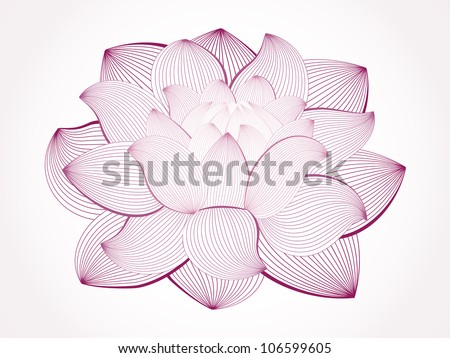Vector lotus flower isolated on white, line drawing - stock vector