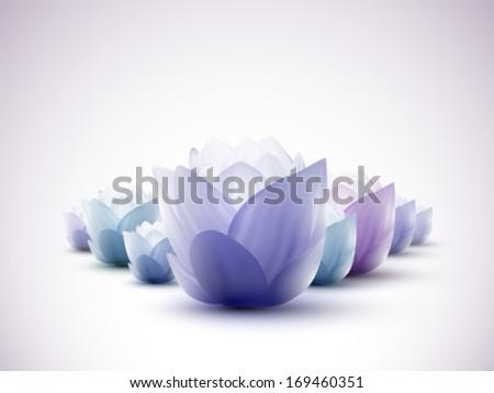 vector lotus flowers - stock vector