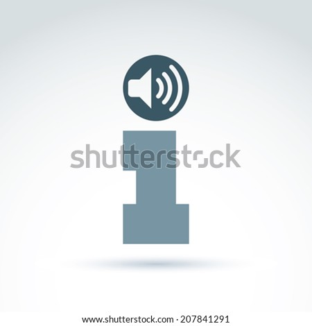 Vector loudspeaker sign with info icons. Conceptual consultation service emblem.  Information and podcast symbol, info help concept.  - stock vector