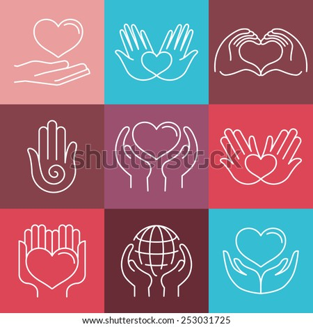 Vector love and care round emblems in linear style - hand made and charity - icons for non-profit organizations - stock vector