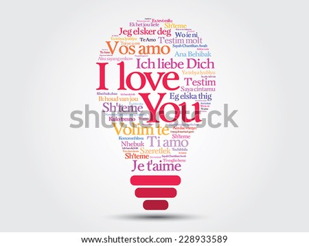 "Vector love bulb with words ""I love you"" in all languages of the world - stock vector"