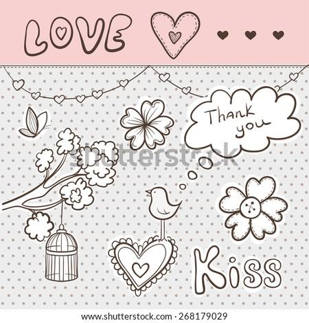 Vector Love Doodle Stickers - stock vector