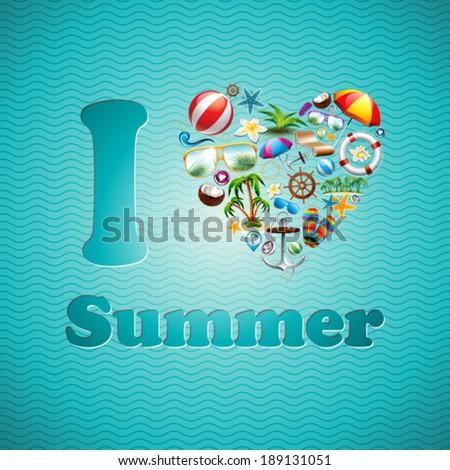 Vector Love Heart Summer Holiday design set on blue wave background. Eps10 illustration. - stock vector