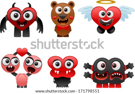vector love monsters set 1 - Separate layers for easy editing - stock vector