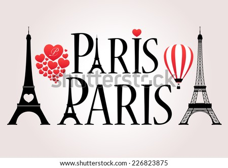 Vector Love Paris Iconography - Eiffel Tower in Typography - stock vector
