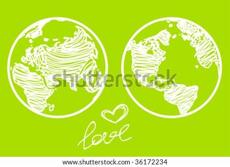 "vector ""love the planet"" concept - stock vector"