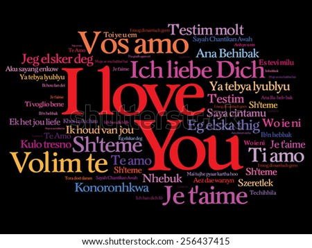 "Vector love words ""I love you"" in all languages of the world, words cloud"