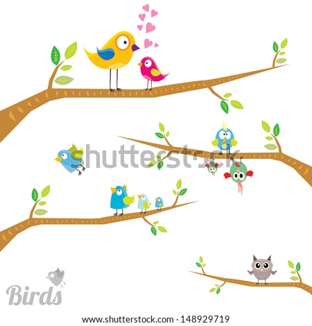 Vector lovely Birds on branches