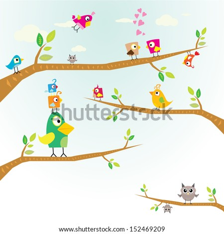 Vector lovely cartoon Birds on branch