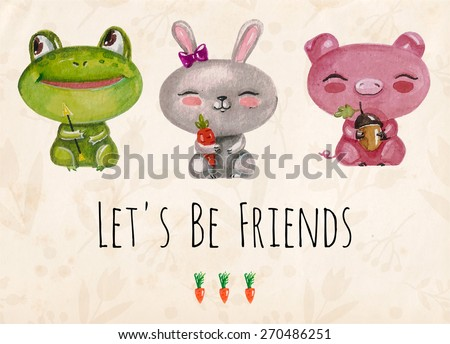 Vector lovely cute  illustration with baby frog, bunny, pig and carrots. Let's be friends. Vector illustration with watercolor little animals.  Kids illustration.  - stock vector