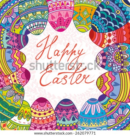 "Vector lovely illustration ""Happy Easter"". - stock vector"