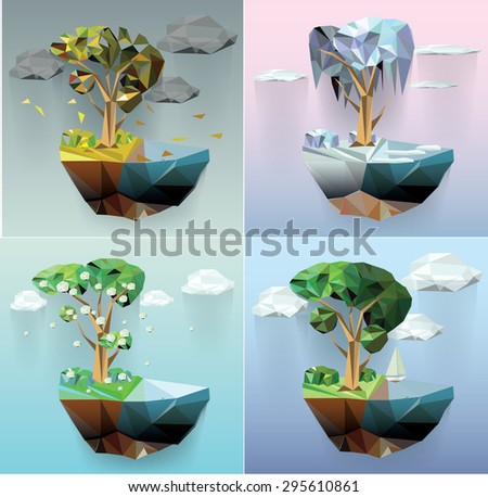 Vector low poly island  and trees seasons concept abstract illustration - stock vector