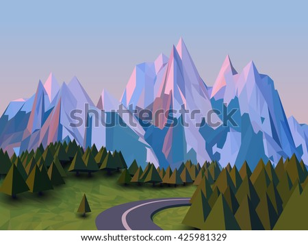 Vector low poly landscape 3d background. High mountains, with snow on the top, stylized pine trees, fields, and winding road. Sunset in nature. - stock vector