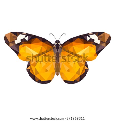 vector low poly Monarch butterfly on white background