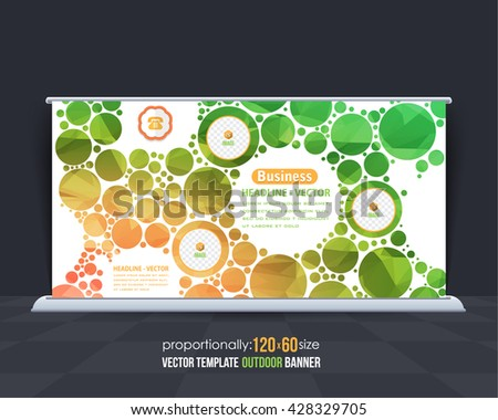 Vector Low Poly Outdoor Banner, Colorful Advertising Background Template