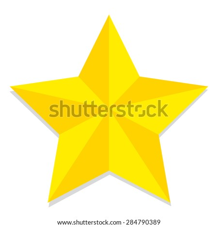 Vector Low Poly Style Yellow Star Isolated - stock vector