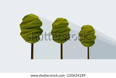 vector low-poly three tree - stock vector
