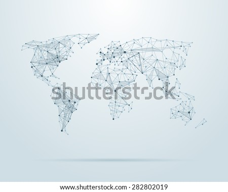 Vector low poly world map illustration. Point and geometrical form, structure line  - stock vector