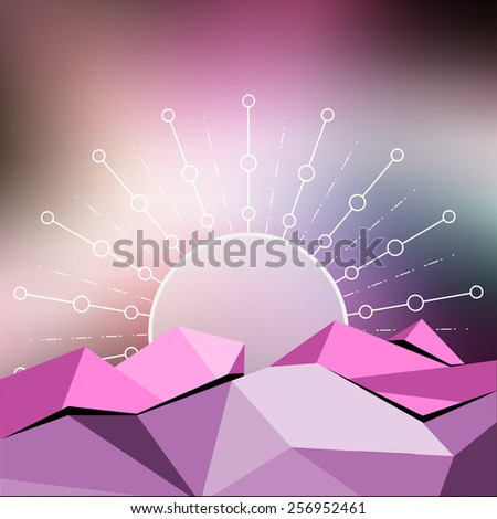 vector low polygon abstract and sun, blur background - stock vector