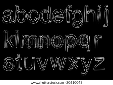 Vector Lowercase Sketch Style Font - stock vector