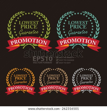 Vector : Lowest Price Guarantee Promotion Wheat Laurel Wreath, Ribbon, Label, Sticker or Icon - stock vector