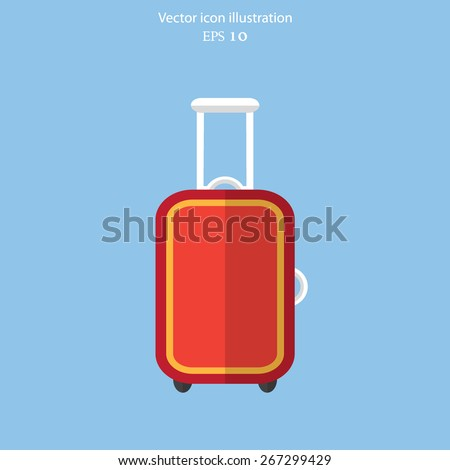 Vector luggage flat icon illustration. - stock vector