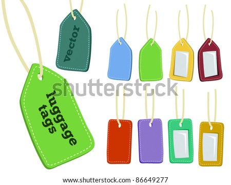 vector luggage or price tags set - stock vector