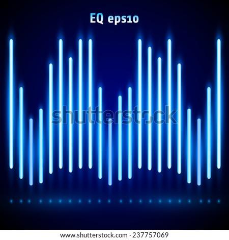 Vector luminous blue digital equalizer - stock vector