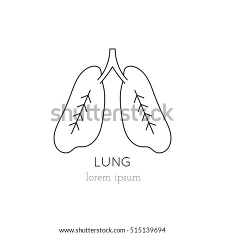 vector lungs thin line icon logo stock vector 515139694 - shutterstock, Powerpoint templates