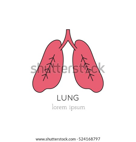 vector lungs thin line icon logo stock vector 524168797 - shutterstock, Powerpoint templates