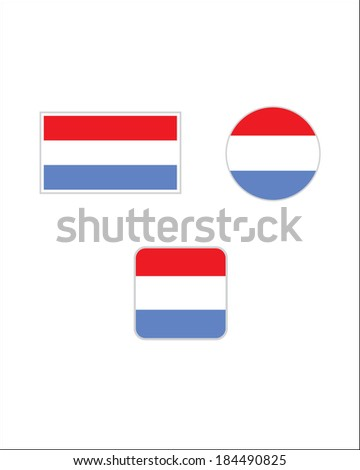 Vector Luxembourg Flag and Icon Set - stock vector