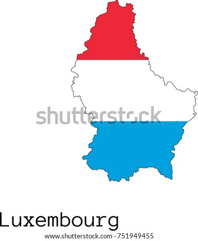 Map Flag Luxembourg Stock Vector Shutterstock - Luxembourg map vector