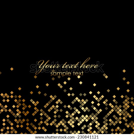 Vector luxury black background with gold sparklers - stock vector