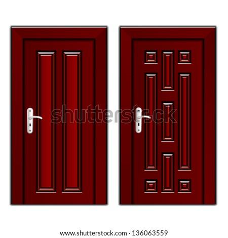 vector luxury mahogany wooden door - stock vector