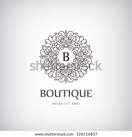 Vector luxury vintage logo icon business stock vector for Boutique hotel logo
