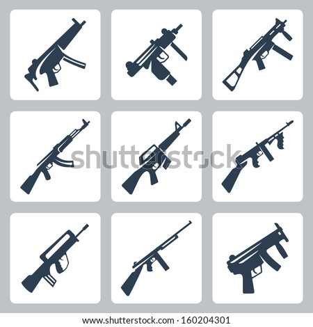 Vector machine guns and assault rifles icons set - stock vector
