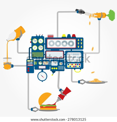 Vector - Machine to make food. Machine in center with grippers to making foods like hamburger, salad and juice. Conceptual. - stock vector