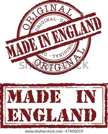 Vector made in England stamp with red ink - stock vector